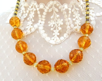 Citrine Yellow Crystal Necklace, Faceted Amber Glass Bead Necklace, Amber Yellow Necklace, Fall Autumn Jewelry
