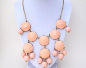 Pale Pink Bubble Necklace, Peachy Pink Bib Necklace, Peach and Gold Necklace, Large Bib Necklace, Pastel Pink Bib Necklace, Peach Jewelry