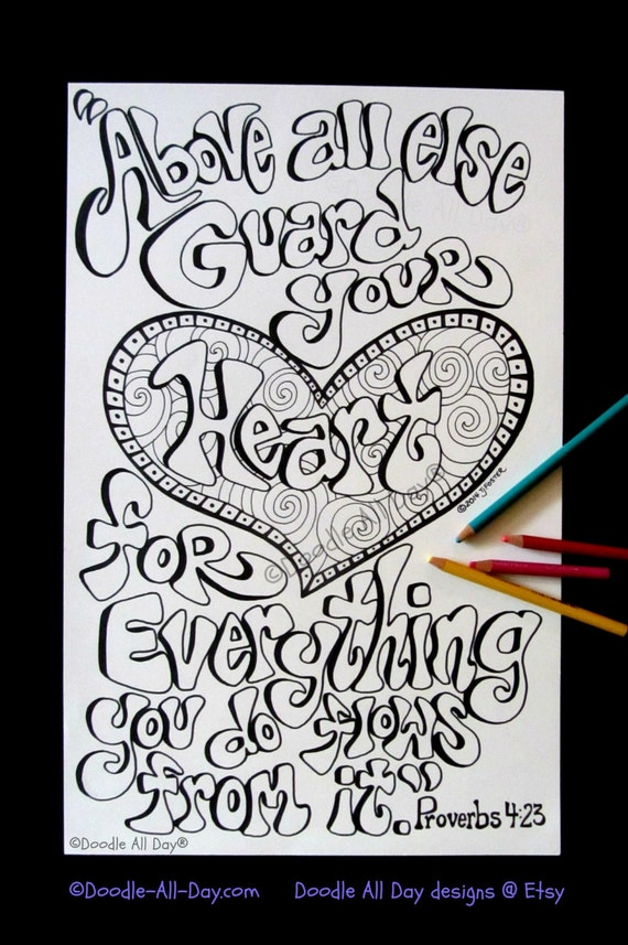 Items similar to guard your heart on etsy for Selling coloring pages on etsy