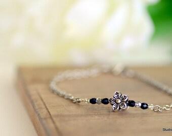 Silver Bracelet, Dainty Flower Bracelet, Simple Bead Bracelets, Customizable Layering Bracelets, Minimalist Bracelet, Black and Silver