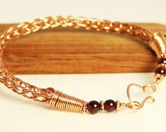 Copper Viking bracelet, Viking knitted bracelet, red garnet jewelry,  copper Viking knit bracelet, garnet bracelet