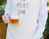 Apron, Nice To Meat You, present, grilling apron, menswear, housewarming gift, kitchen decor