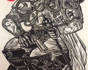 Immortan Joe Linoblock Print