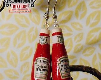 Miniature Ketchup Bottle Earring Dangles, Miniature Polymer Clay Food! cute! Retro Heinz Ketchup Glass Bottles