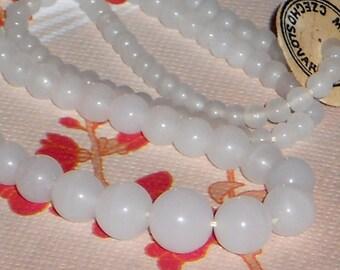 SALE White Glass Beads, Vintage Czech Glass Bead Strand, Graduating Round Bead Strand In Milky White, Glass Beads, 1940 Beads