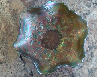 Fenton Holly Pattern Green Purple Carnival Glass Bowl/ Dish