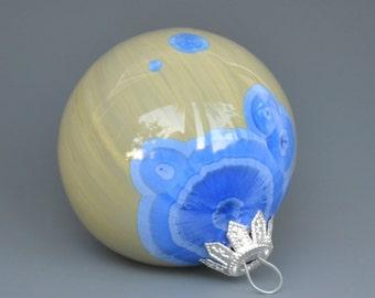 Handmade Crystalline Glazed Christmas Ornament Handmade Blue Green