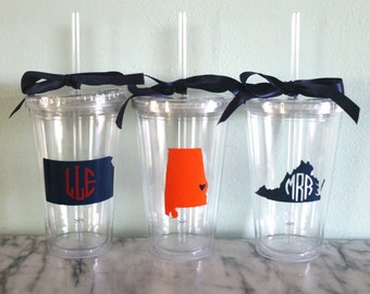 Monogram State 16 oz. Acrylic Tumbler with Straw - Perfect for Bridesmaids or Grads!