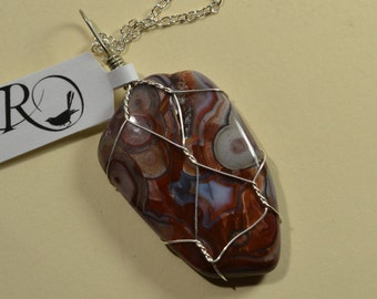 Mexican Crazy Lace Agate Wire Wrapped Pendant