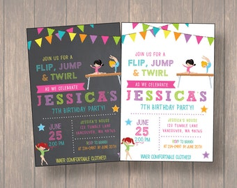 Gymnastic invitation, Gymnastic Birthday Party, Gymnastic Birthday, Tumble Birthday Party, Girl Invite
