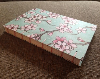 Teal and Pink Cherry Blossom Print Blank Coptic Stitched Journal