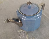 Vintage Teapot, Art Deco Lustreware, Blue &Silver, Made in Germany, Eclectic Tea Set