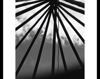 Teepee Poles Fine Art Photograph, Black and White Photography, Wall Art, Home Decor, Native American Art, Outdoor Dwelling Structure, Gift