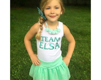 TEAM ELSA Sparkly Glitter custom color Bodysuit, Tee or Tank Top - Baby, Girls, Kids, Teen, Adult, Ladies, Women