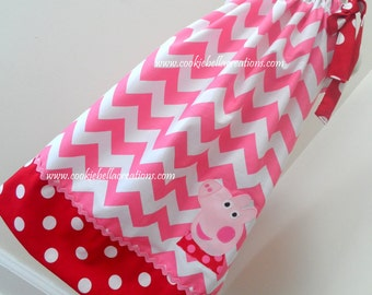 Posh Piggy Inspired Pink & Red Chevron and Polka Dot Pillowcase Dress