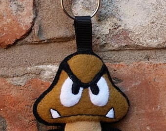 Super Mario felt Goomba keyring / ornament