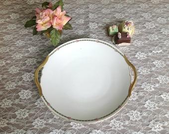 Antique Porcelain Limoges Serving Cake Plate, T. V.  Limoges France Serving Plate, Tressemann and Vogt Limoges France Porcelain Rose Plate