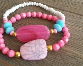 Cute set of 2 bracelets summer bracelets white bracelets pink bracelets