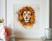Lion head watercolor painting for instant download, animal art, illustrations, wildlife, animal paintings, lion painting, big cats art