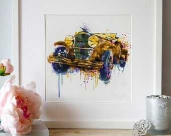 Oldtimer Automobile Watercolor painting Wall art Printable art Square painting Vintage car Aquarelle Dripping paint Old car decor Art gifts