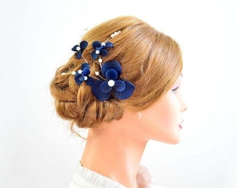 Bridal navy blue headband Simple hair piece  Bridal headpiece  Navy blue fascinator Flower headpiece Wedding hair comb
