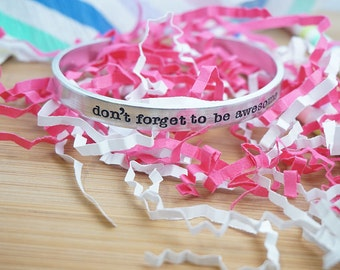 Don't Forget to be Awesome Cuff Bracelet - DFTBA - Nerdfighter Gift - Nerdfighteria - Young Adult Literature - Silver Hand Stamped Cuff