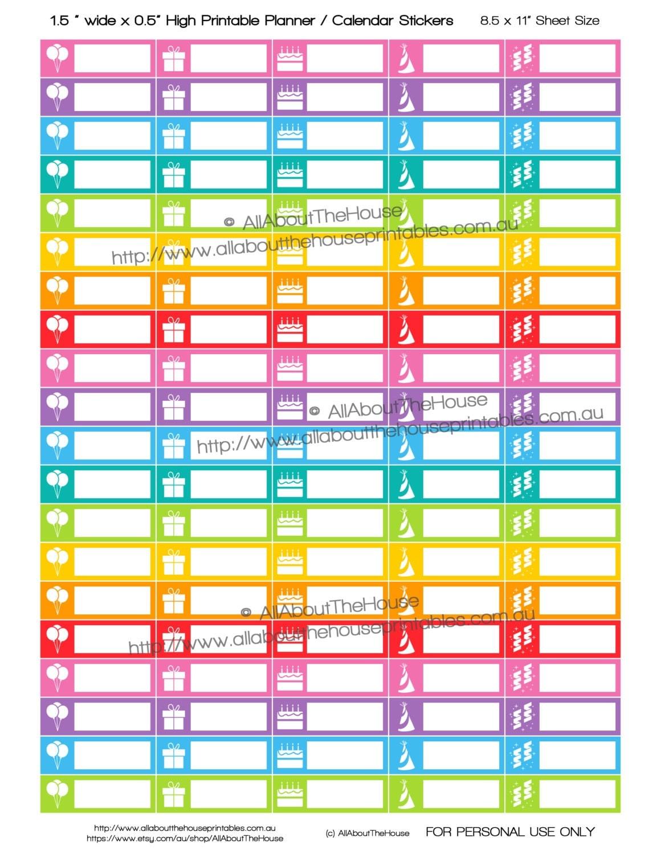 Kids Calendar Stickers : Birthday stickers printable calendar planner