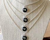 BYE BYE SALE!!  Typewriter Style Initial Alphabet Charm Necklace, Charm Jewelry, Wedding Bridesmaid Gift, Inspirational, Friendship Joy