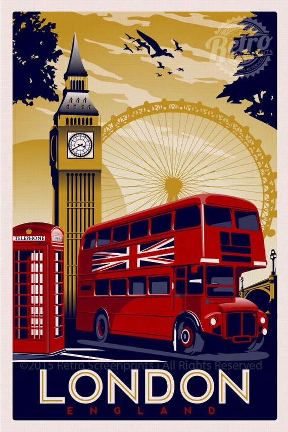 London England Vintage Retro Travel Screen By