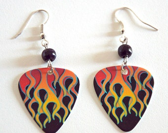 Flames Guitar Pick Earrings with Black Beads