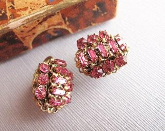 Vintage Petunia Pink Rhinestone Baguette Earrings, Sparkling Rhinestone Earrings,  Vintage Czech Screw Back Earrings