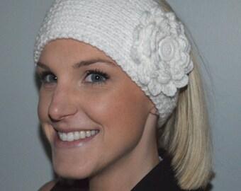 Hand Knit Headband / Ear Warmer in White (Item #83)