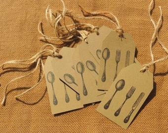 Kraft Silverware Gift Tag With Twine Flatware Cutlery Utensil Spoon Fork Knife Pack of 25