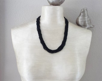 Black necklace, seed bead necklace,jet black necklace,braided necklace,bridesmaid gift,wedding,bridesmaid necklace,beaded necklace,seed bead