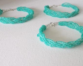 Bridesmaid gift,Turquoise bracelet, teal bracelet, blue bracelet, green bracelet, braided bracelet, seed bead bracelet, bridesmaid jewelry