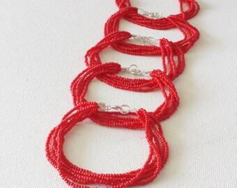 Red bracelet, bright red beaded bracelet, valentines bracelet, classic bracelet, boho bracelet, red seed bead bracelet, multistrand bracelet