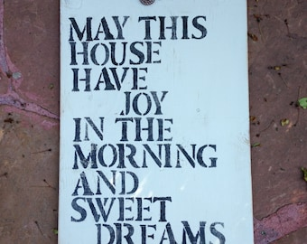 Joy in the Morning and Sweet Dreams at Night hand painted cottage chic sign/wall decor