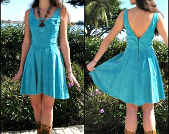 FIRENZE Suede dress / fits S / Firenze turquoise suede dress / vintage 80s turquoise suede dress