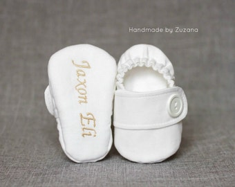 WHITE Christening shoes, Personalized baptism shoes, baby boy shoes, fabric shoes, white baby boy shoes