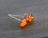 Sterling silver and amber long modern stud earrings, amber nuggets, wire wrapped, minimalist, boulder, long post earrings, stick, bar