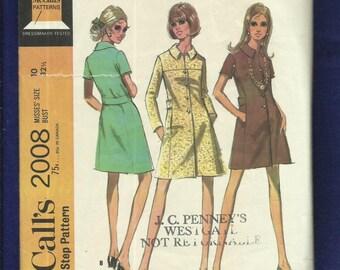1960's McCalls 2008 A-Line Shirt Dress with Martingale Belt & Concealed Pockets Size 10