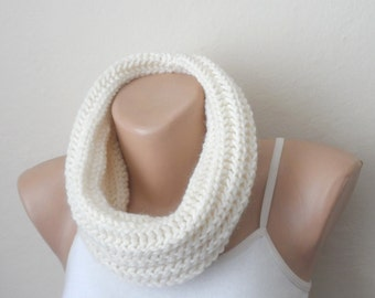 cream knit infinity scarf cream circle scarf loop scarf winter scarf