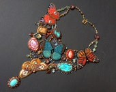 Exclusive necklace with bead embroidered butterflies and gemstones  - OOAK handmade set of earrings and necklace