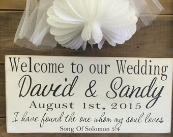 Welcome To Our Wedding Personalized Wedding Sign | Country | Primitive | Rustic |