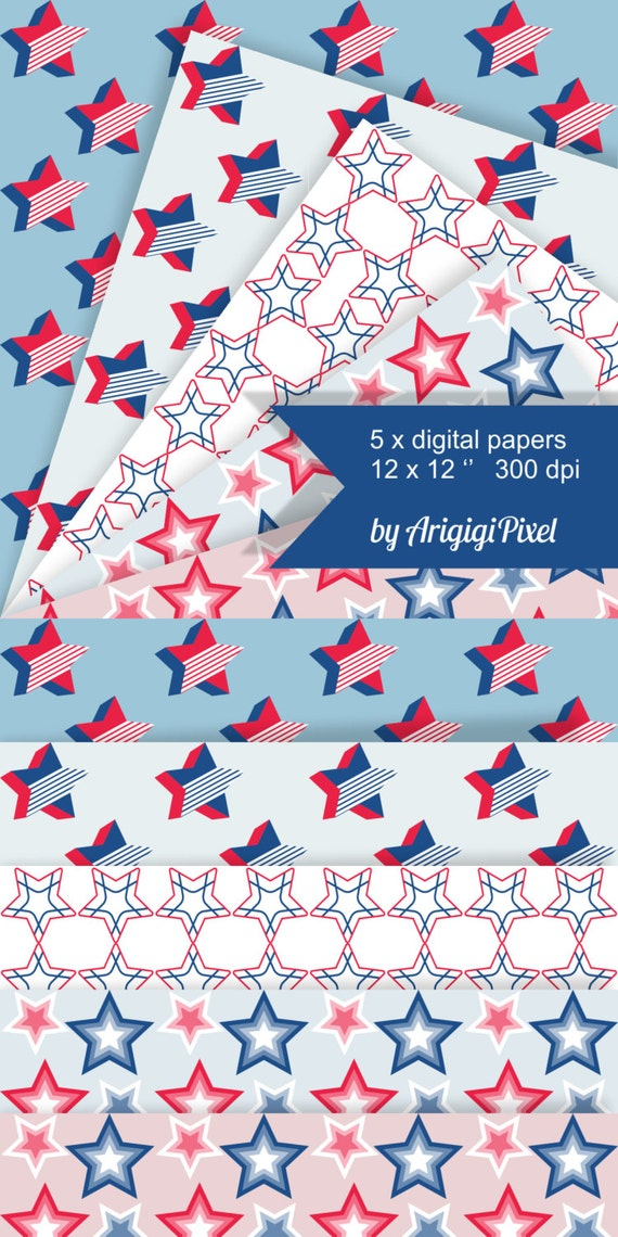 4th of July stars seamless pattern, patriotic, repeating, retro style, blue, red, digital collage sheet, printable scrapbook paper, download