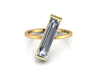 Long 14K Yellow Gold Baguette Ring