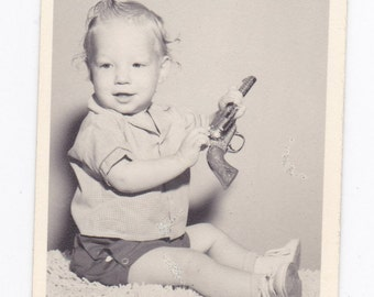 Vintage Black & White Snapshot Photograph: Little Boy with Gun Portrait 1940s