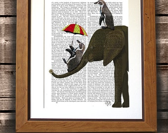 Elephant & Penguins - elephant art elephant artwork elephant décor elephant poster elephant wall art elephant wall décor elephant home décor