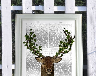 Green King, Deer Print Animal Painting wall art lake house décor wall decor hanging deer hunting Stag Head Cabin décor ideas cabin wall art