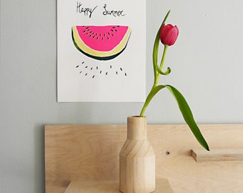 Hand Pulled Screenprint, Watermelon 'Happy Summer'